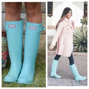 NWOB Hunter Original Tall Gloss Boots in Pale Mint